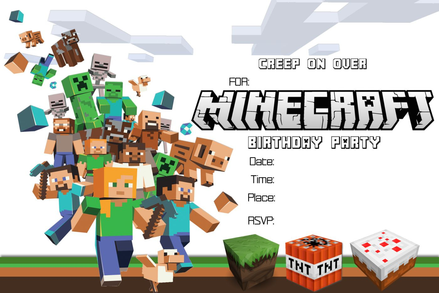 Free Minecraft Birthday Invitation Printable!!!!   Craftysusanita - Free Printable Minecraft Invitations