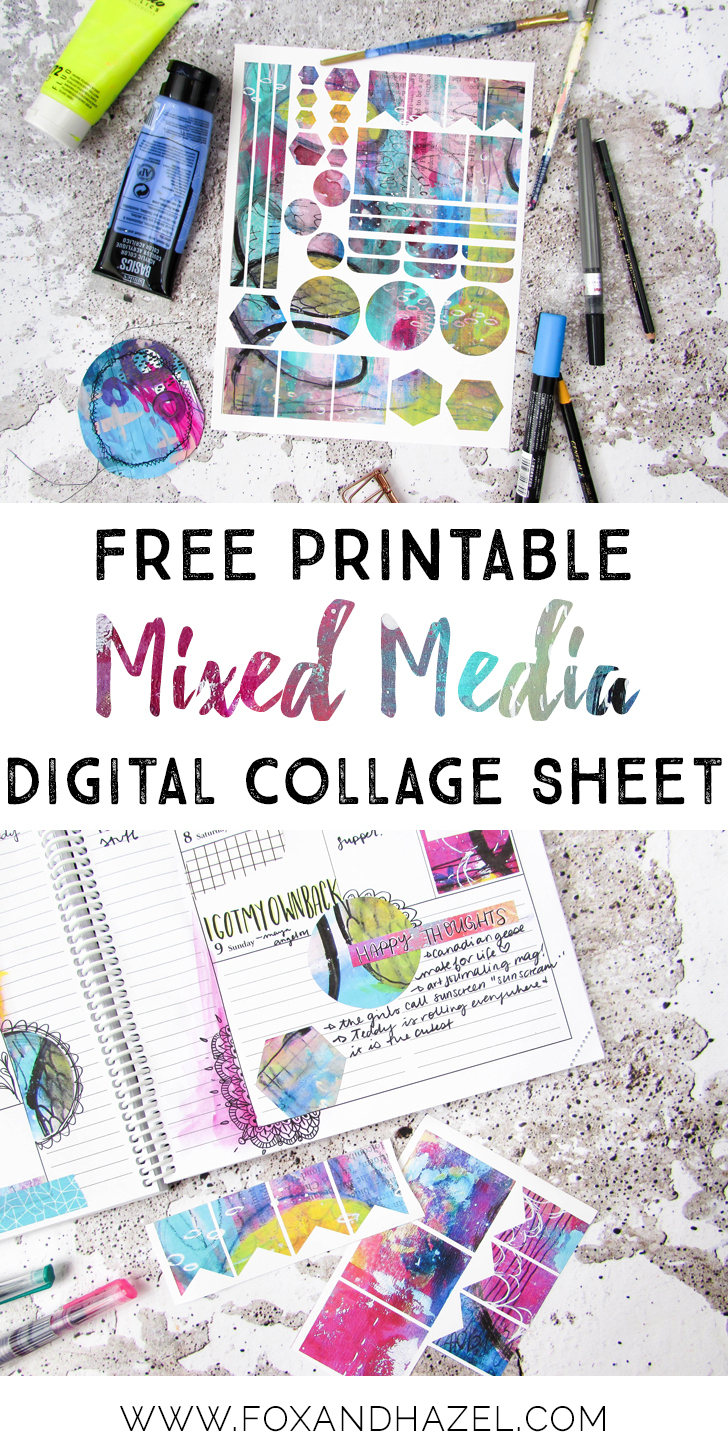 Free Mixed Media Digital Collage Sheet - Fox + Hazel - Free Printable Digital Collage Sheets