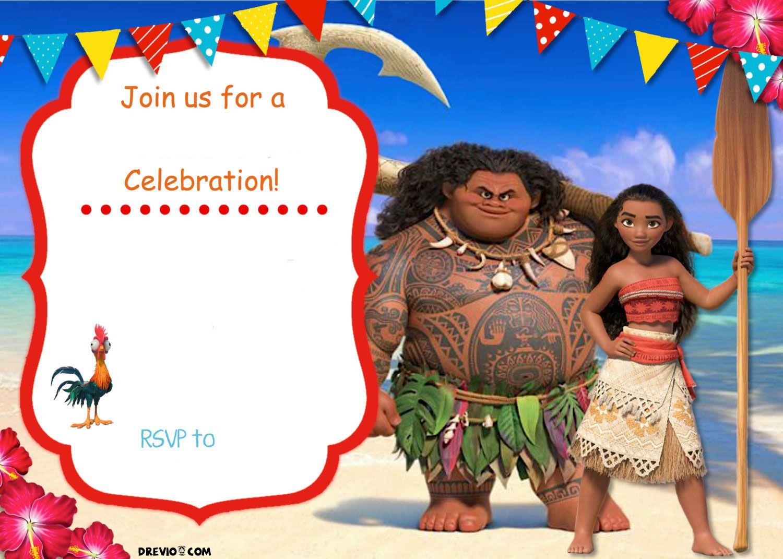 Free Moana Birthday Invitation   Zoey 4Th Birthday   Pinterest - Free Printable Moana Invitations