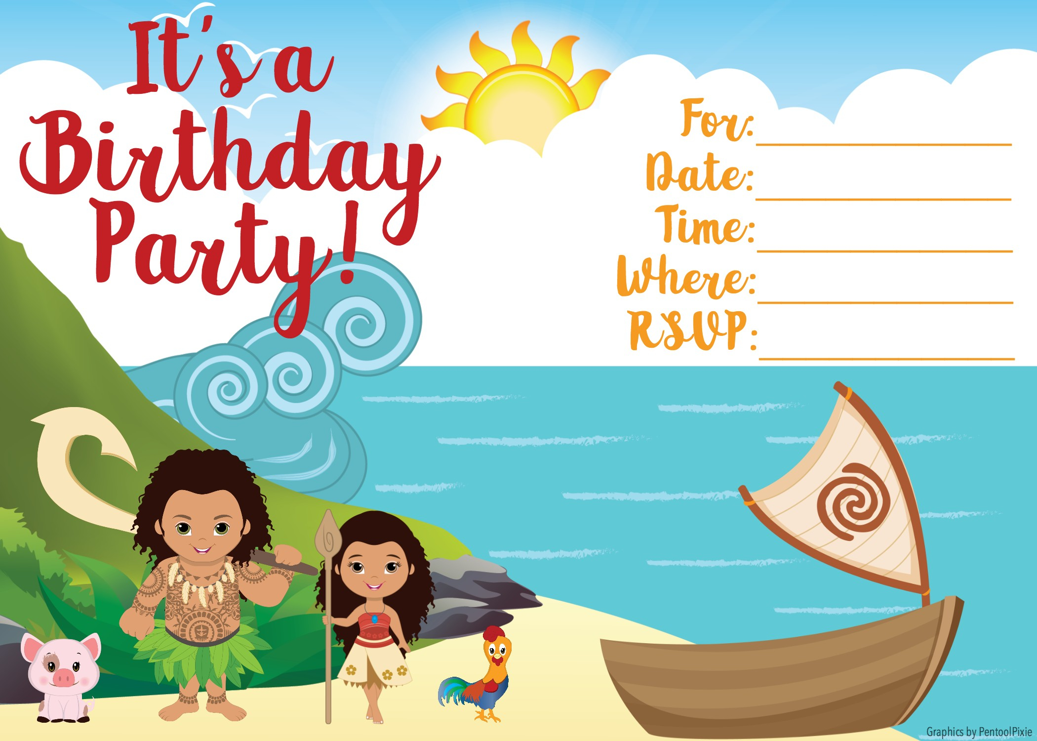 Free Moana Printable Invitations - Joomlaexploit - Free Printable Moana Invitations