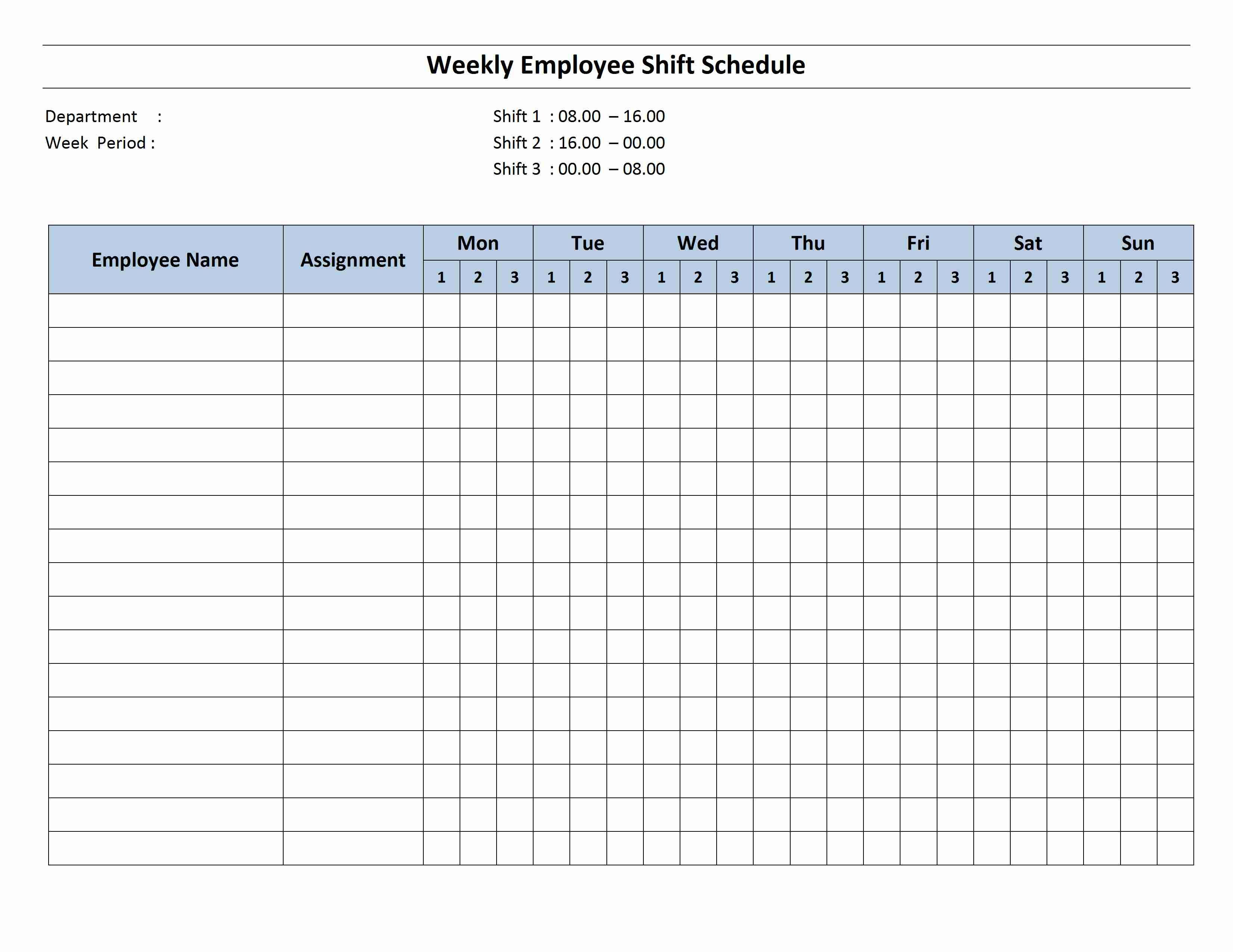 Free Monthly Work Schedule Template | Weekly Employee 8 Hour Shift - Free Printable Blank Work Schedules