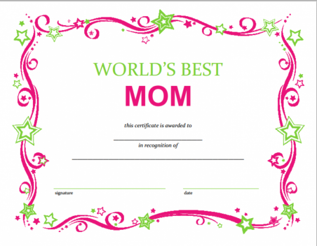 Free Mothers Day Printable Certificate In 2018 | Templates Intended - Free Printable Best Daughter Certificate