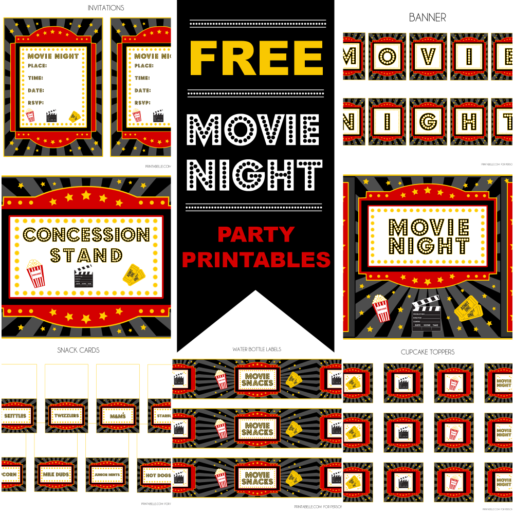Free Movie Night Party Printablesprintabelle | Catch My Party - Free Printable Movie Themed Invitations