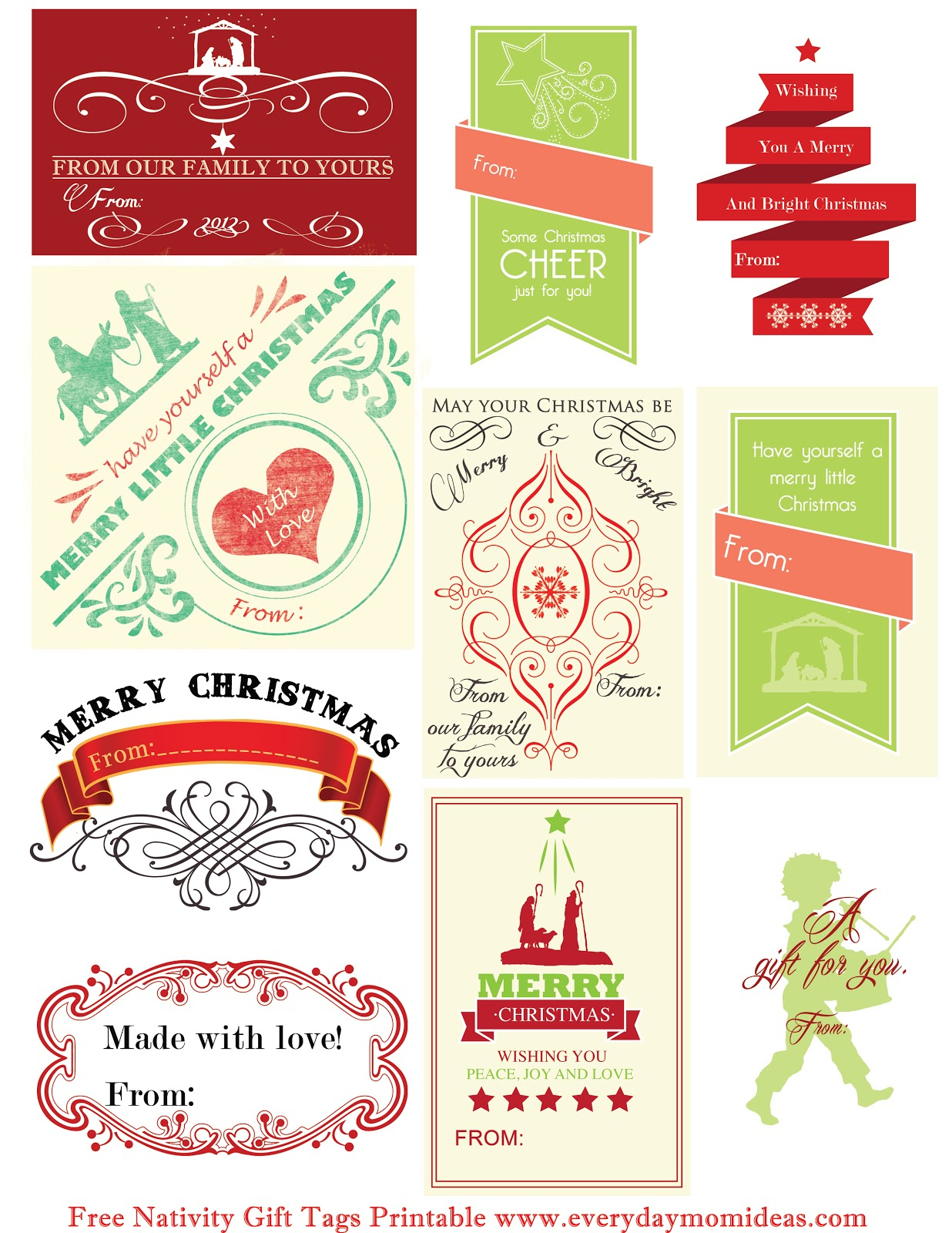 Free Nativity Gift Tags Printable - Everyday Mom Ideas - Free Printable Toe Tags