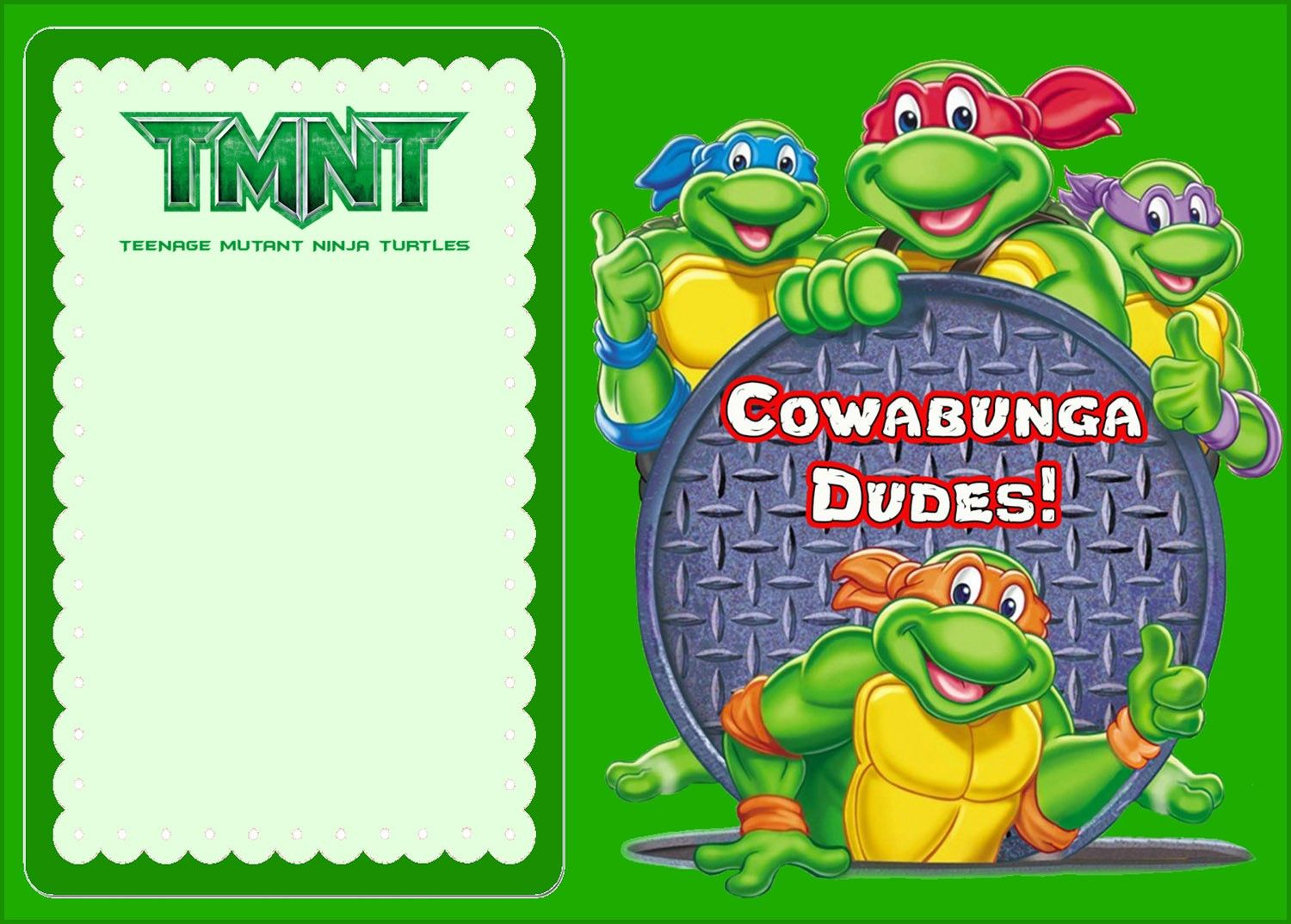 Free Online Ninja Turtle Invitation | Coolest Invitation Templates - Free Printable Ninja Turtle Birthday Invitations