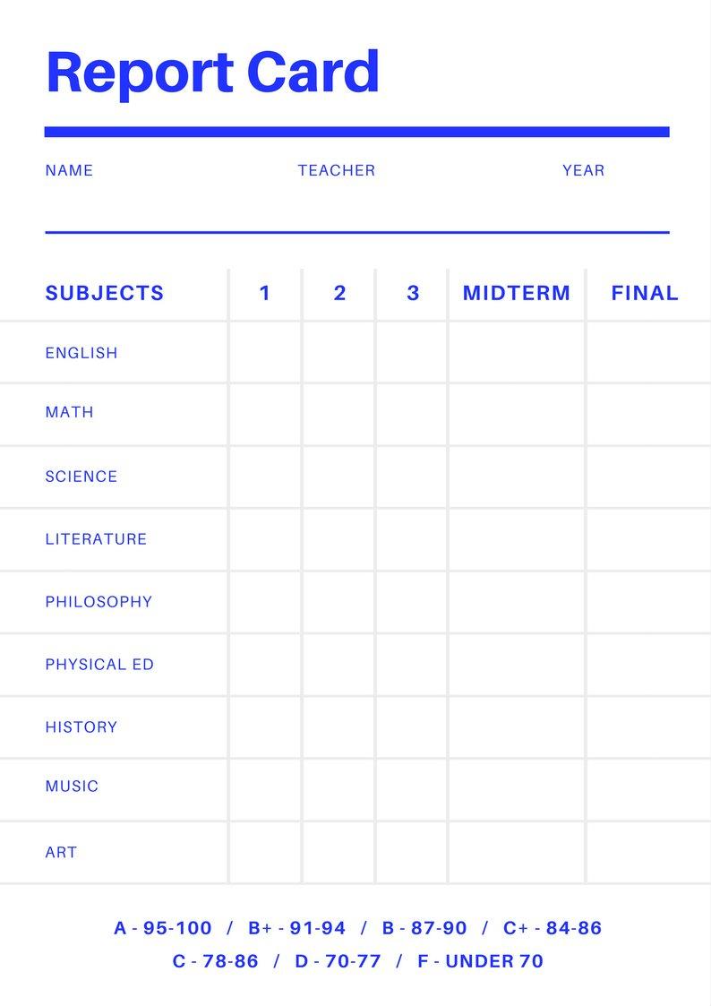 Free Online Report Card Maker: Design A Custom Report Card In Canva - Free Printable Report Cards