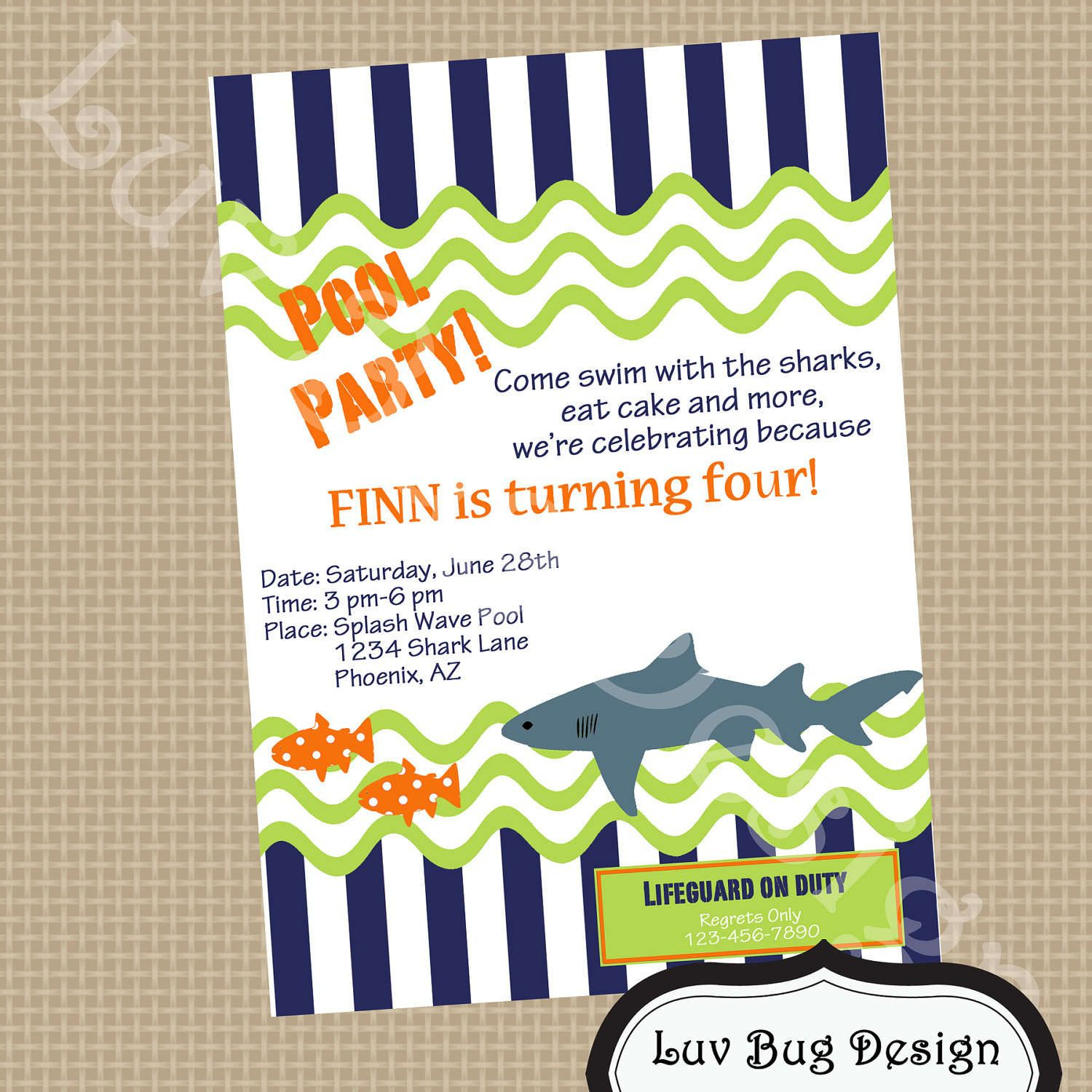 Free Party Invitation Templates | Free Printable Pool Party - Shark Invitations Free Printable
