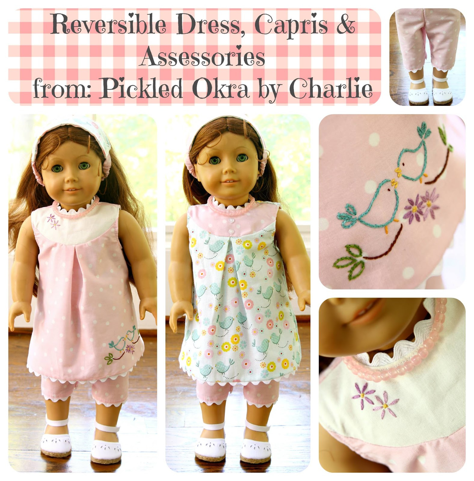"Free Pattern For An 18"" American Girl Doll Reversible Dress - 18 Inch Doll Clothes Patterns Free Printable"