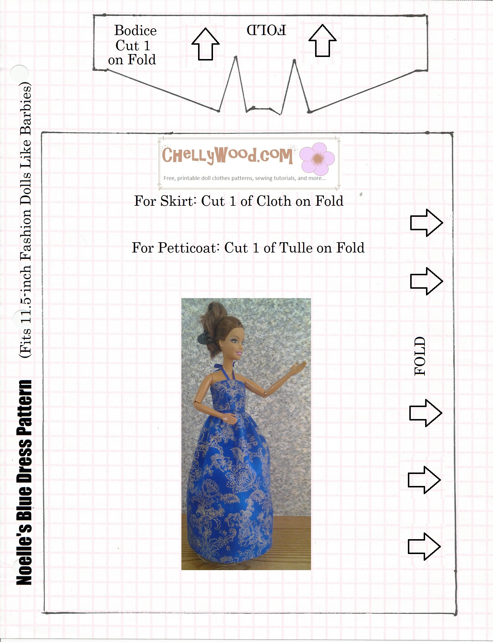 Free Patterns For #easydiy Barbie #dolls #dresses @ Chellywood - Easy Barbie Clothes Patterns Free Printable