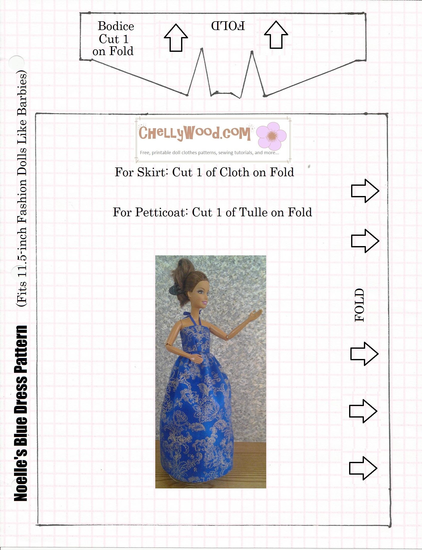 Free Patterns For #easydiy Barbie #dolls #dresses @ Chellywood - Easy Barbie Clothes Patterns Free Printable