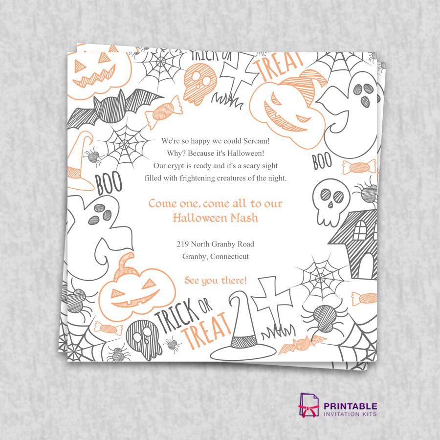 Free Pdf Download. Halloween Party Invitation Template   Wedding - Free Printable Halloween Wedding Invitations