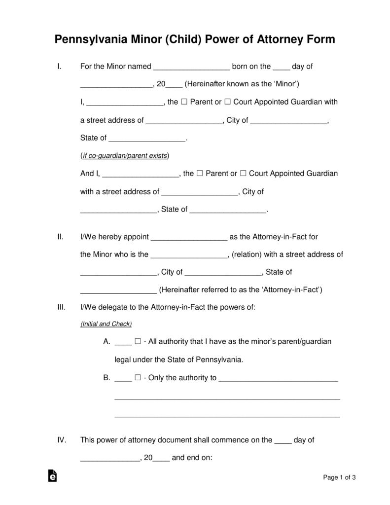 Free Pennsylvania Guardian Of Minor Power Of Attorney Form - Word - Free Printable Child Custody Papers