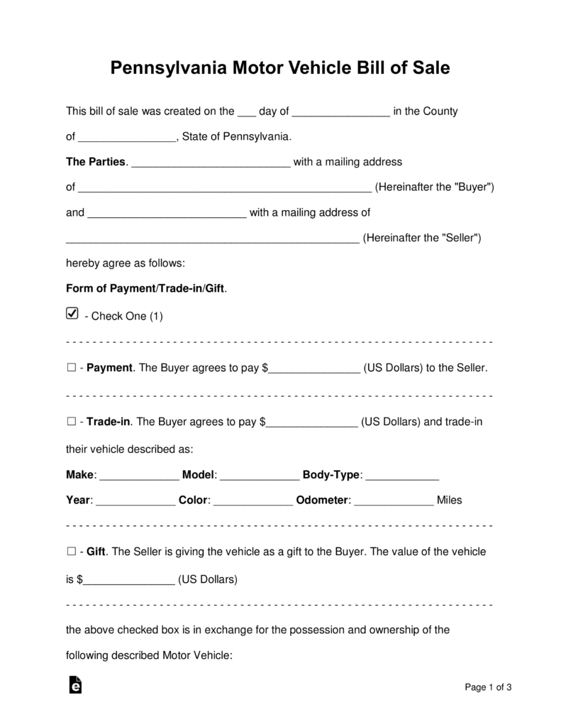 Free Pennsylvania Motor Vehicle Bill Of Sale Form - Word | Pdf - Free Printable Automobile Bill Of Sale Template