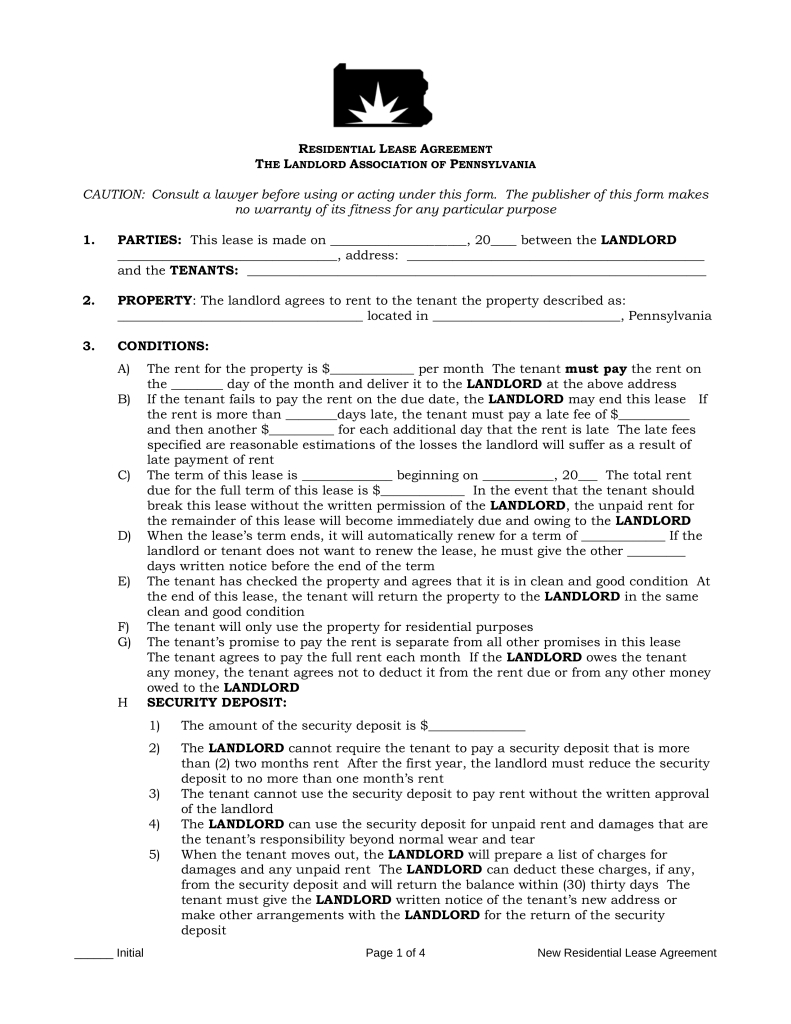 Free Pennsylvania Standard Residential Lease Agreement Form - Pdf - Free Printable Lease Agreement Pa