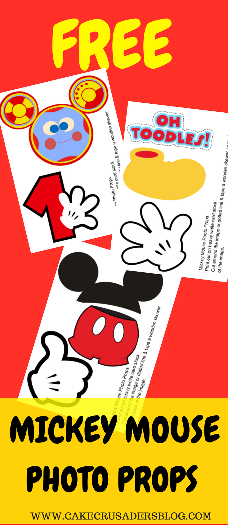 Free Photo Props Mickey Mouse Printable & Templates | Photo Booth - Free Printable Mickey Mouse Decorations