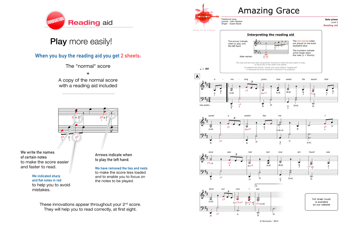 Free Piano Sheet Music Amazing Grace (Susan Boyle) | Noviscore Sheets - Free Printable Gospel Sheet Music For Piano