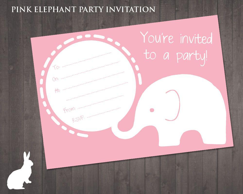 Free Pink Elephant Party Invitation | Ruby And The Rabbit | Owl - Free Printable Cheetah Birthday Invitations
