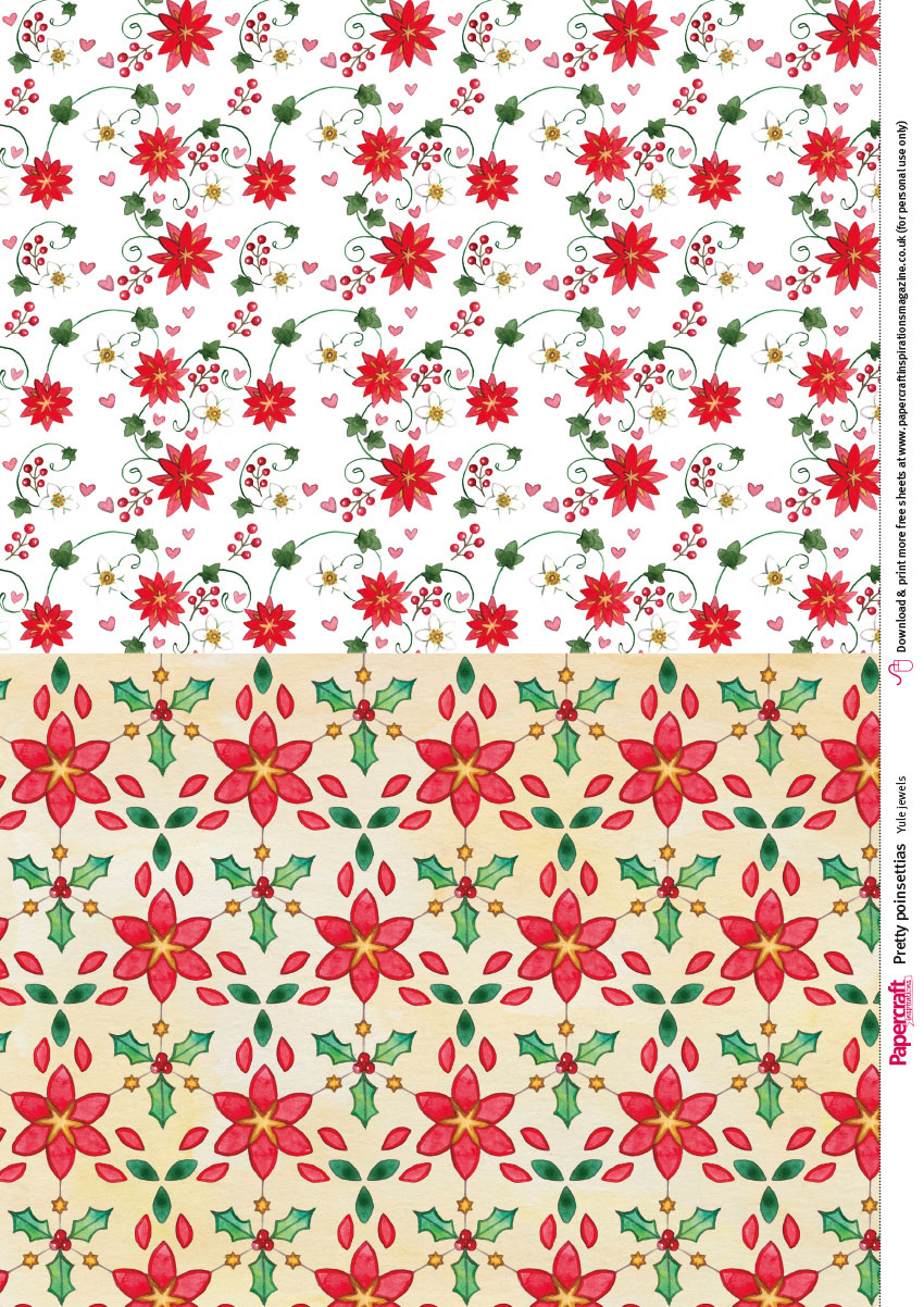 Free Poinsettia Printable Papers From Papercraft Inspirations 183 - Free Printable Pattern Paper Sheets