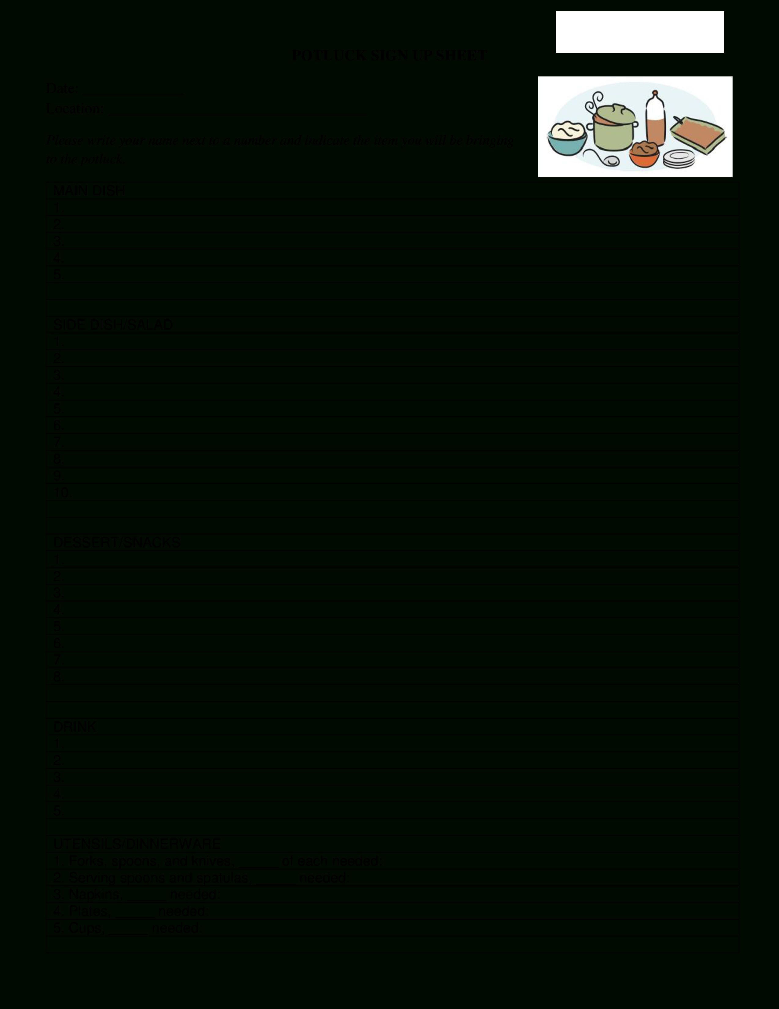 Free Potluck Signup Sheet | Templates At Allbusinesstemplates - Free Printable Sign Up Sheets For Potlucks