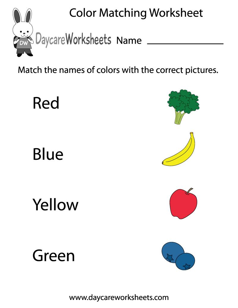 Free Preschool Color Matching Worksheet - Color Recognition Worksheets Free Printable