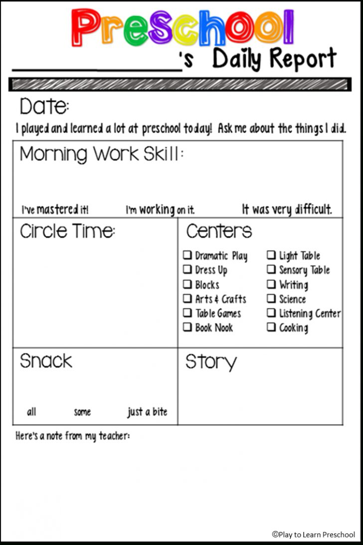 Preschool Assessment Forms Free Printable