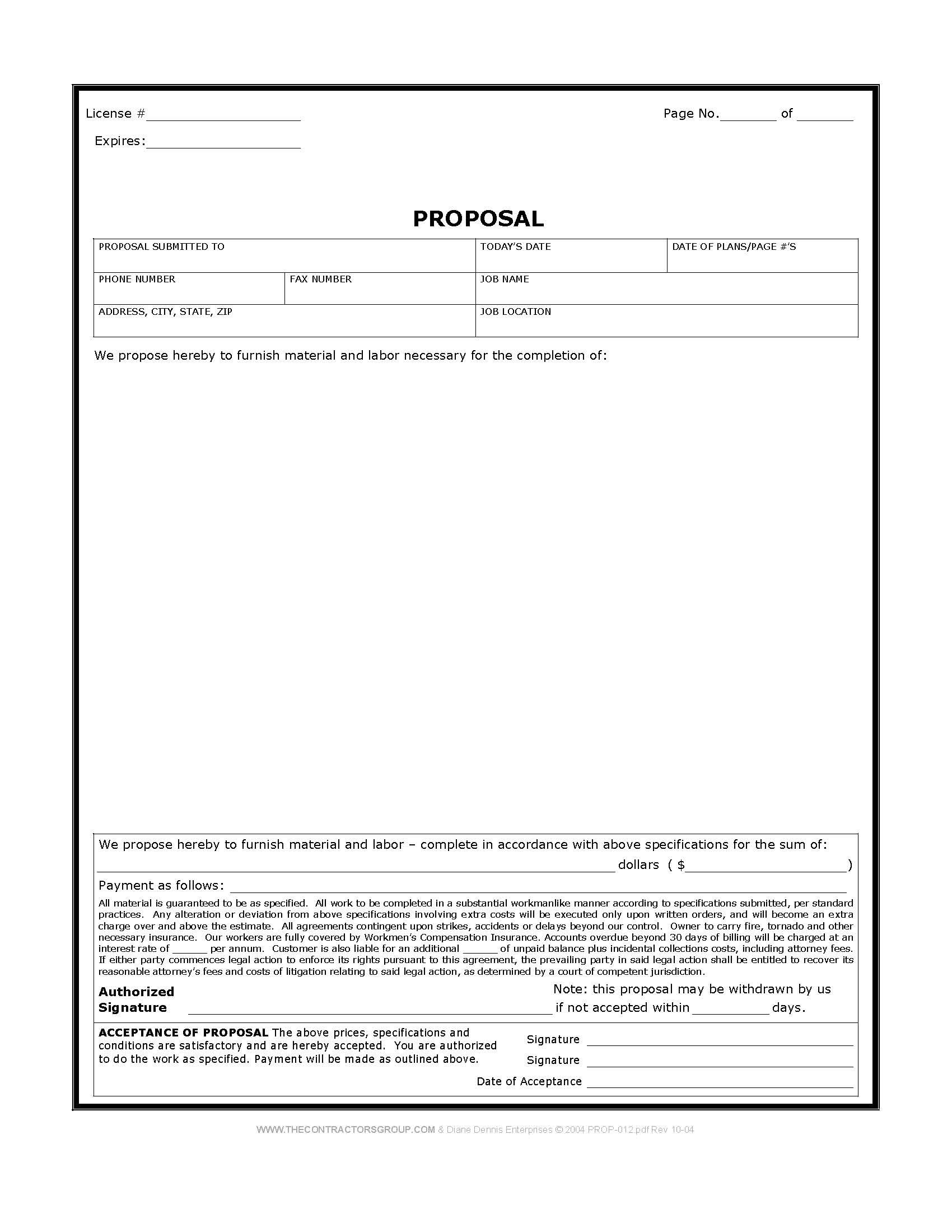 Free Print Contractor Proposal Forms | Construction Proposal Form - Free Printable Construction Contracts