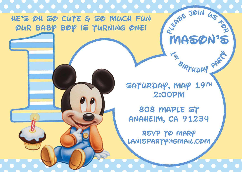 Free-Printable-1St-Birthday-Princess-Invitations   Birthday - Free Printable Baby Mickey Mouse Birthday Invitations