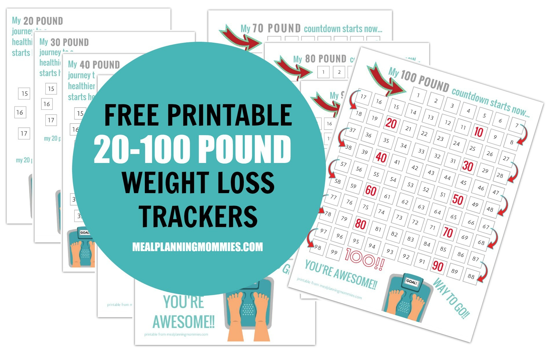 Free Printable 20-100 Pound Weight Loss Trackers - Meal Planning Mommies - Printable Weight Loss Charts Free
