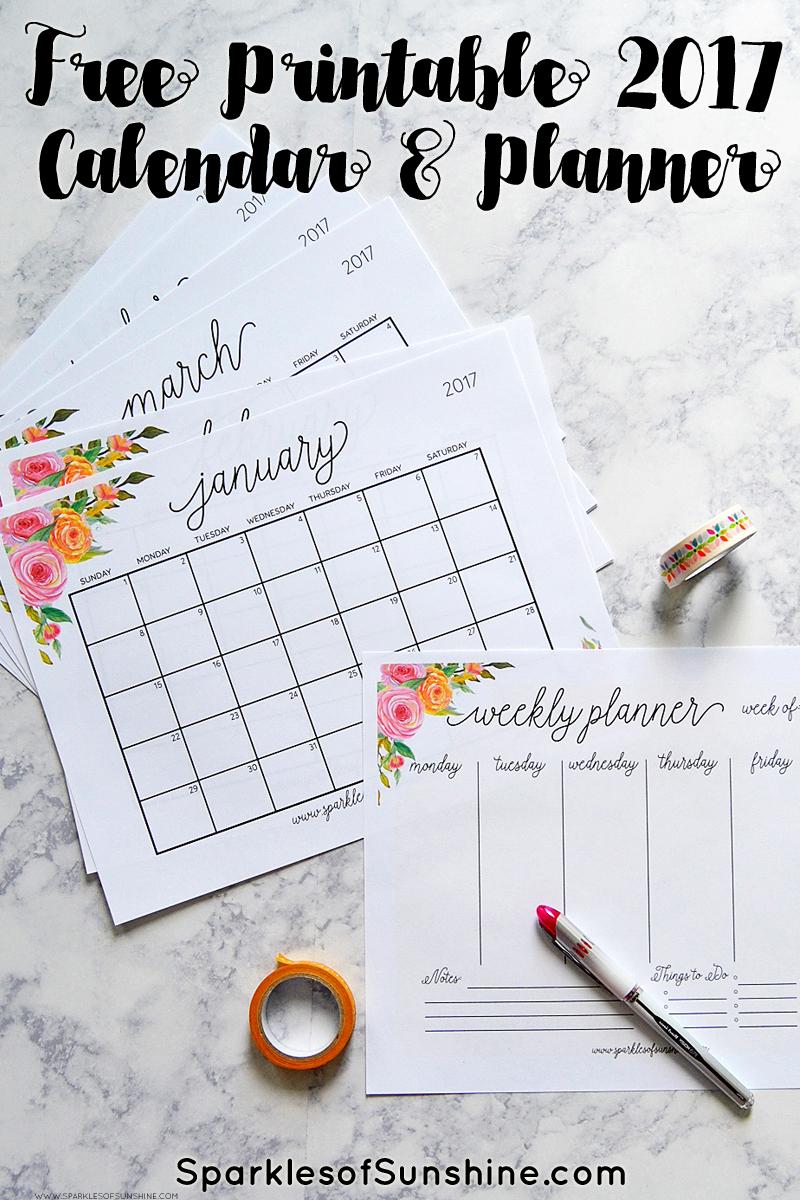 Free Printable 2017 Monthly Calendar And Weekly Planner - Free Printable Agenda 2017
