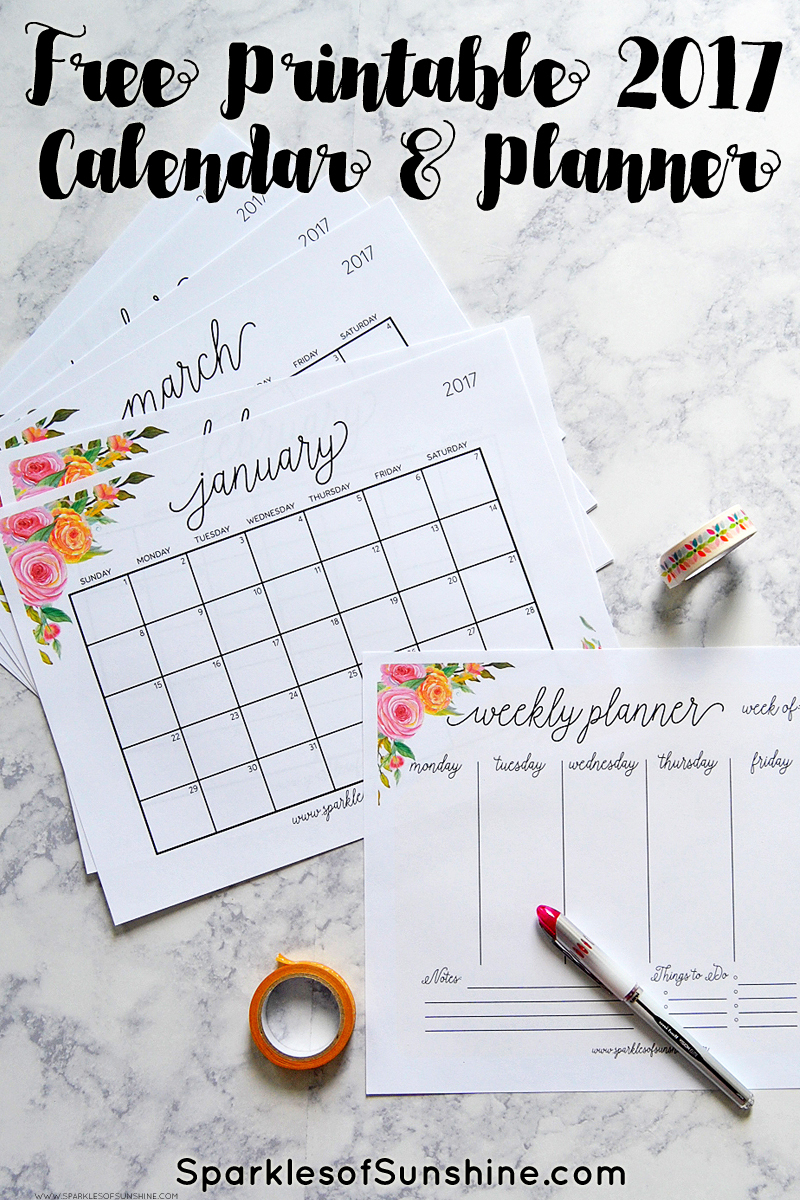 Free Printable 2017 Monthly Calendar And Weekly Planner - Free Printable Planner 2017