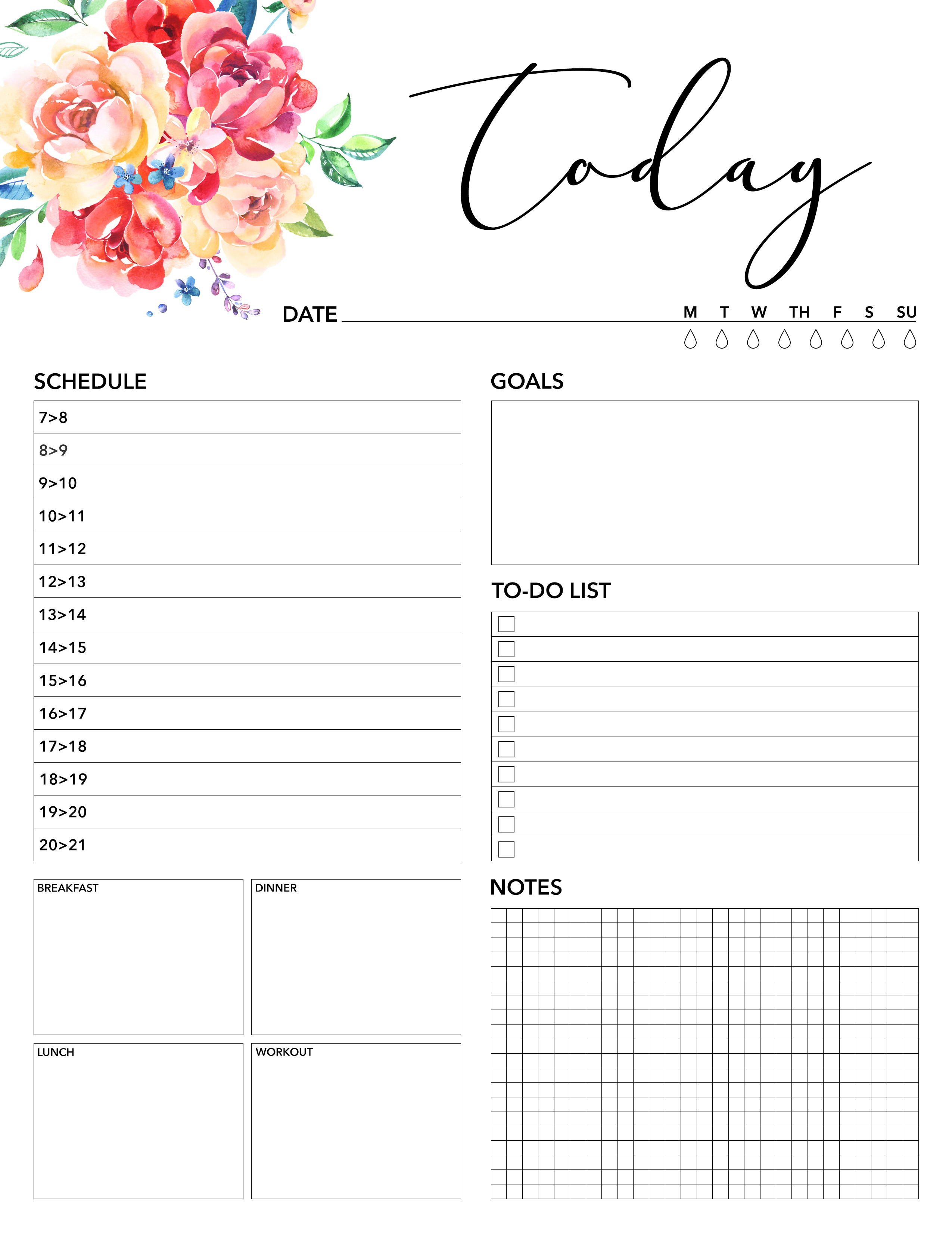 Free Printable 2018 Planner 50 Plus Printable Pages - The Cottage Market - Planner Printable Free