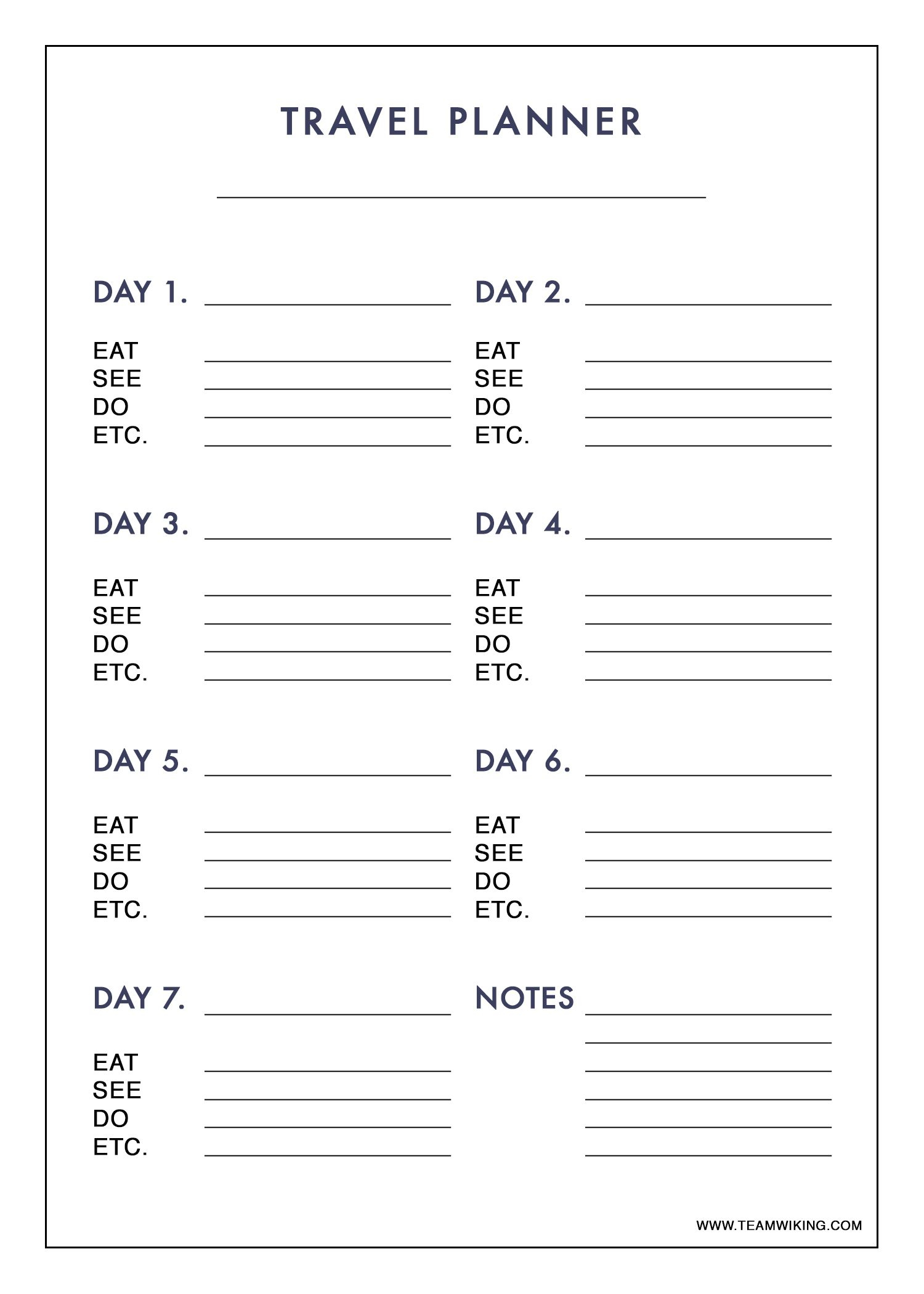Free Printable 7 Day Travel Planner (Use To Plan Outfits - Packing - Free Printable Road Trip Planner