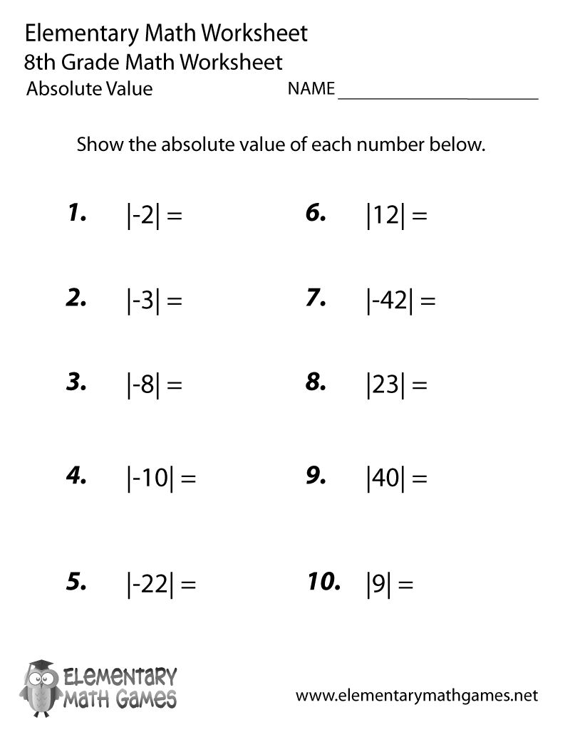 Free Printable Absolute Value Worksheet For Eighth Grade - Free Printable Math Worksheets For 6Th Grade