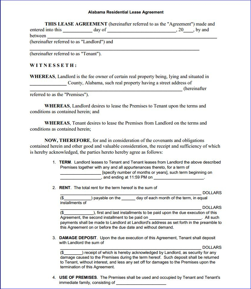 Free Printable Alabama Residential Lease Agreement - Printable - Free Printable Residential Rental Agreement Forms