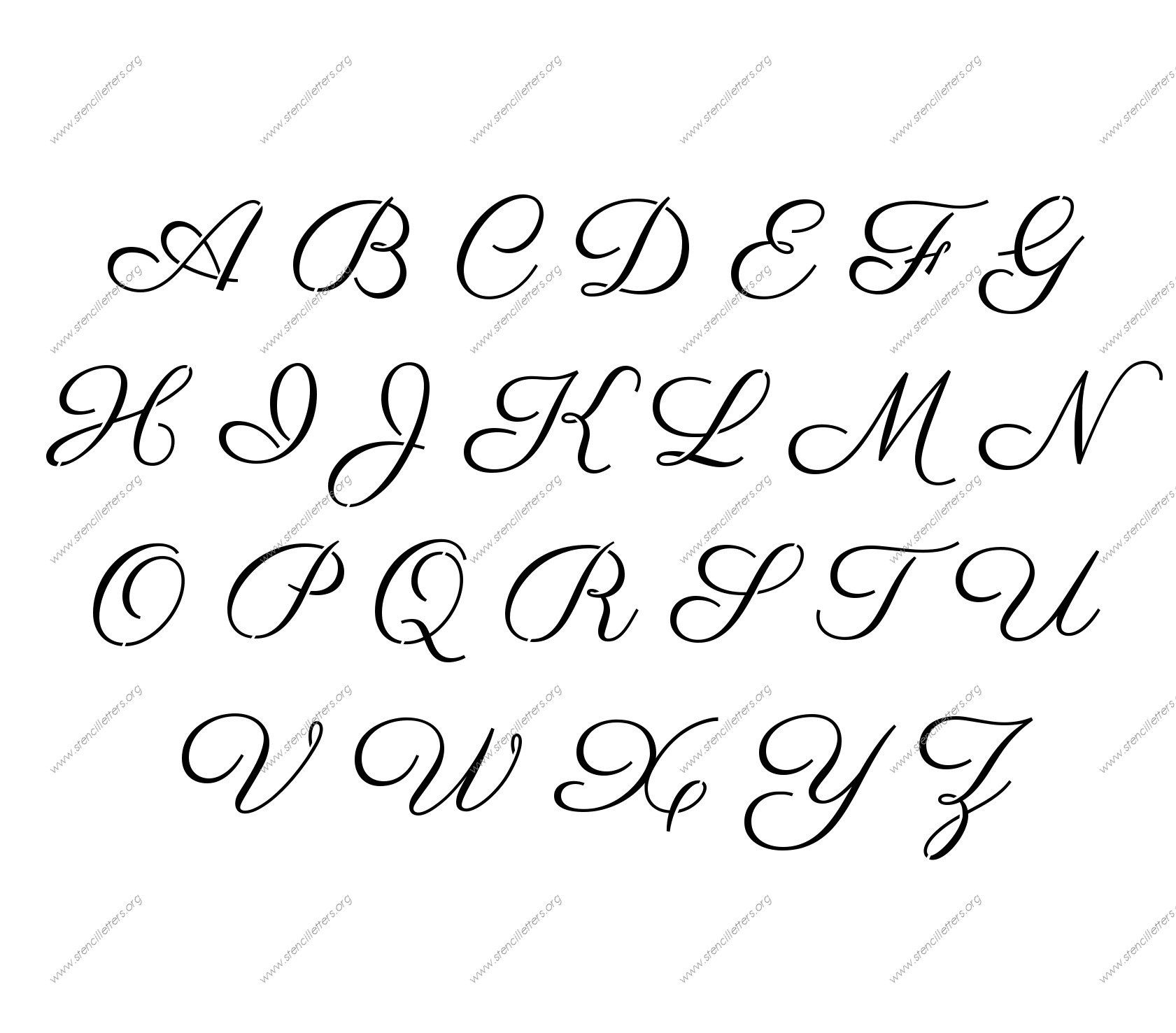 Free Printable Alphabet Stencil Letters Template   Art & Crafts - Free Printable Calligraphy Letter Stencils