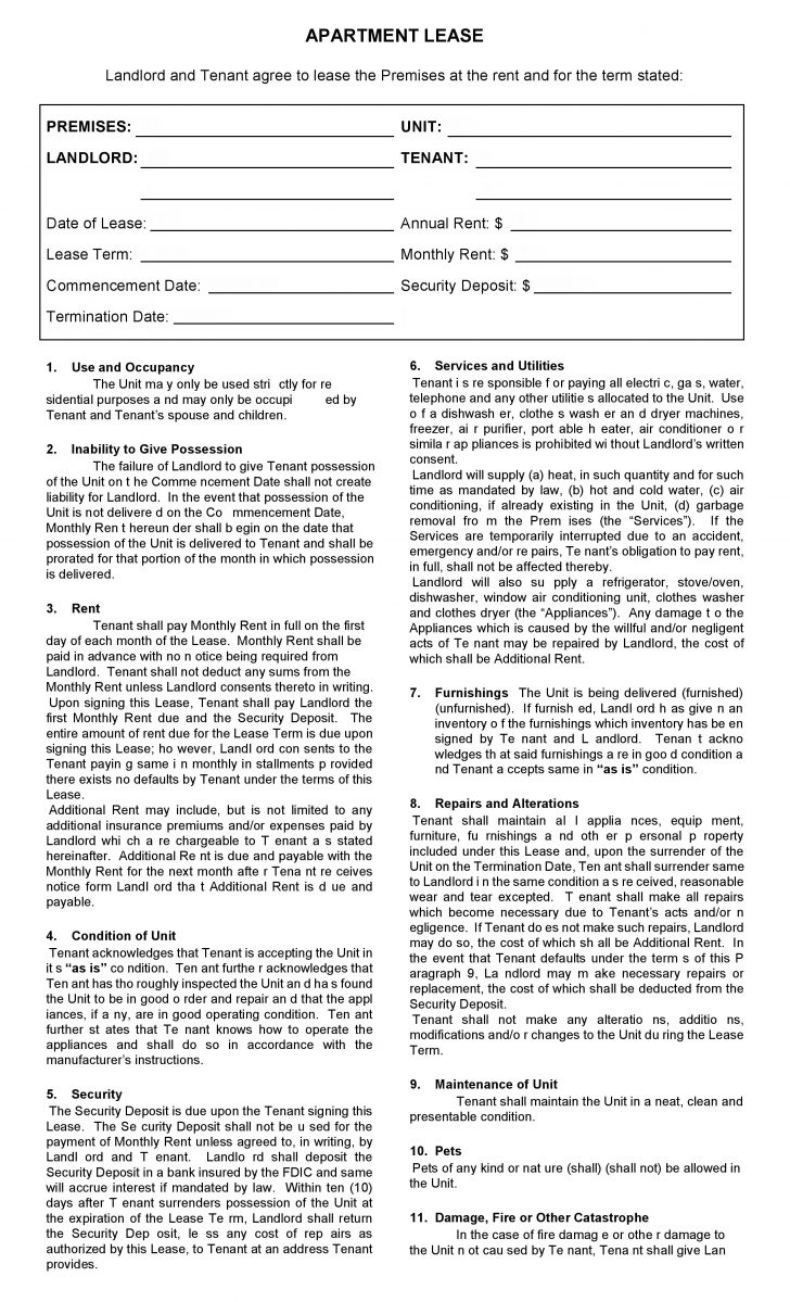 Free Printable Apartment Lease Agreement Printable Agreements - Apartment Lease Agreement Free Printable