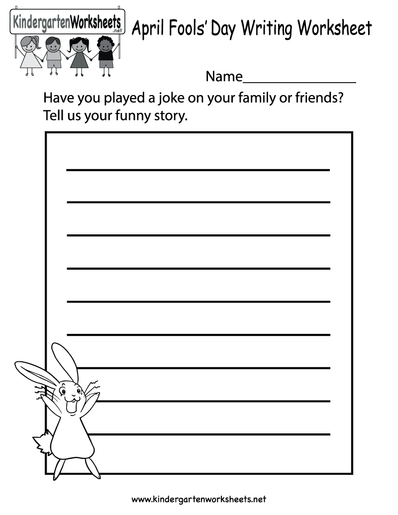 Free Printable April Fools' Day Writing Worksheet For Kindergarten - Free Printable Writing Worksheets