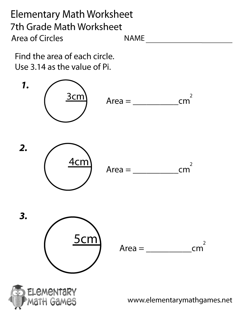 Free Printable Area Of Circles Worksheet For Seventh Grade - Free Printable 7Th Grade Math Worksheets