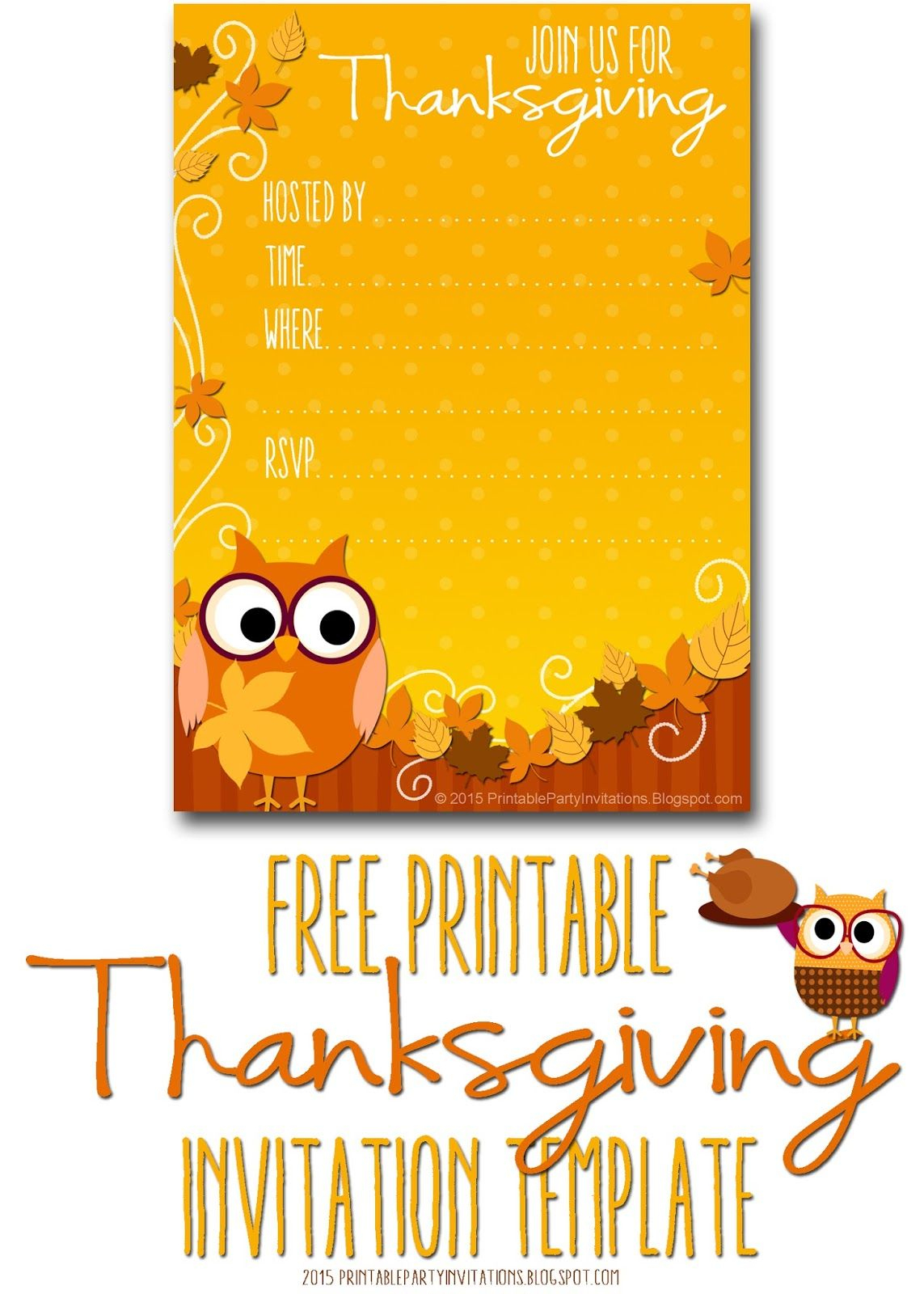 Free Printable Autumn Owl Thanksgiving Invitation Template | Party - Free Printable Fall Festival Invitations