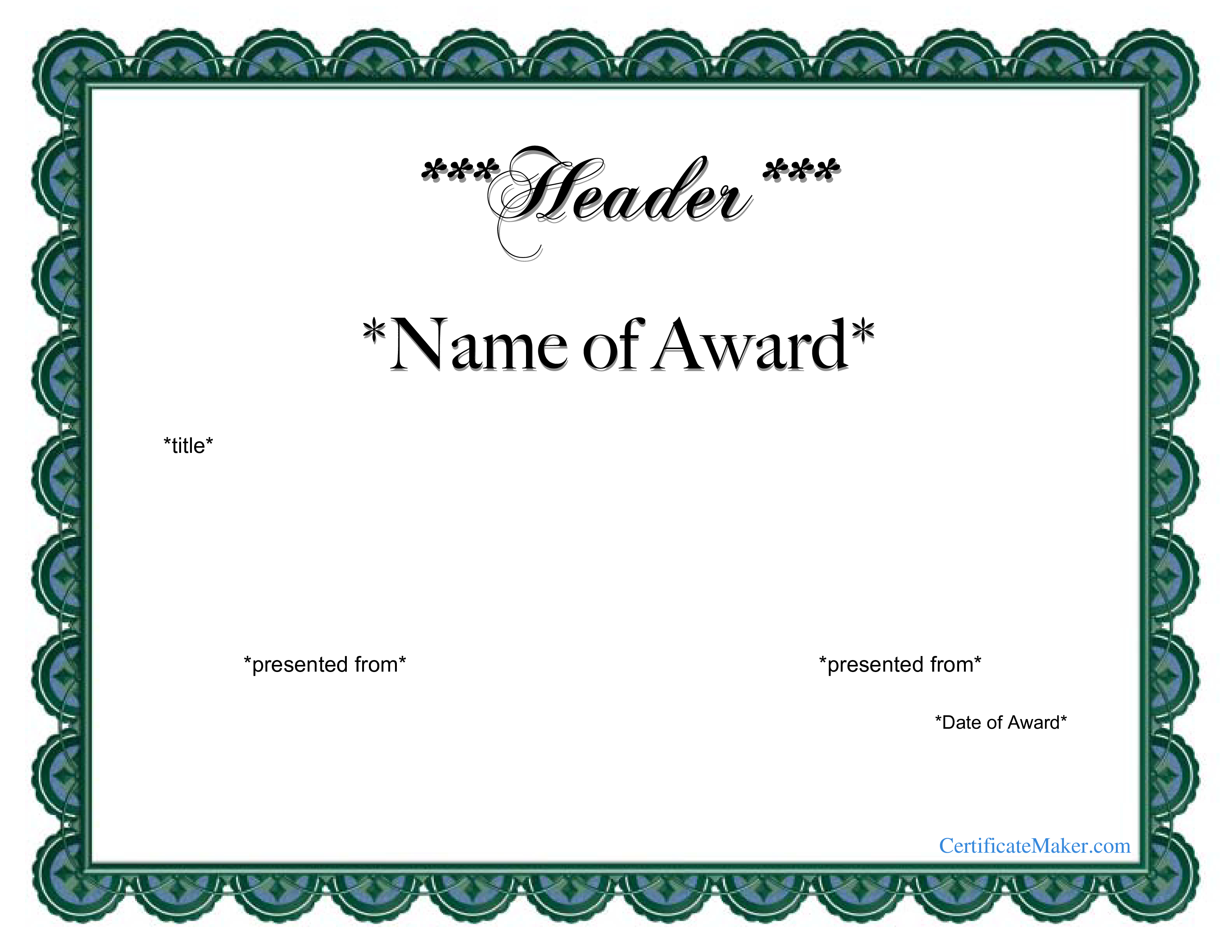 Free Printable Award Certificate   Templates At Allbusinesstemplates - Free Printable Awards