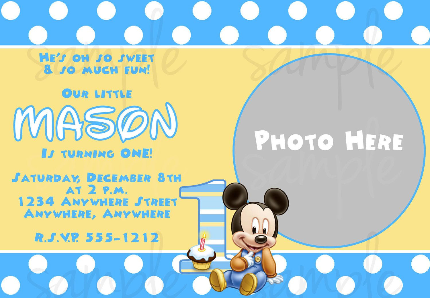 Free Printable Baby Mickey Mouse 1St Birthday Invitations   Andrei - Free Printable Baby Mickey Mouse Birthday Invitations