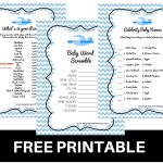 Free Printable Baby Shower Games Baby Word Scramble Baby Celebrity   Free Printable Baby Shower Game What's In Your Purse