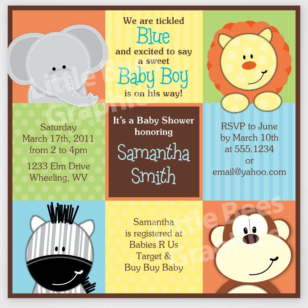 Free Printable Baby Shower Invitations | Stylish Jungle Animals - Free Printable Jungle Safari Baby Shower Invitations