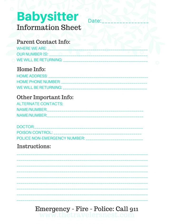 Free Printable Parent Information Sheet