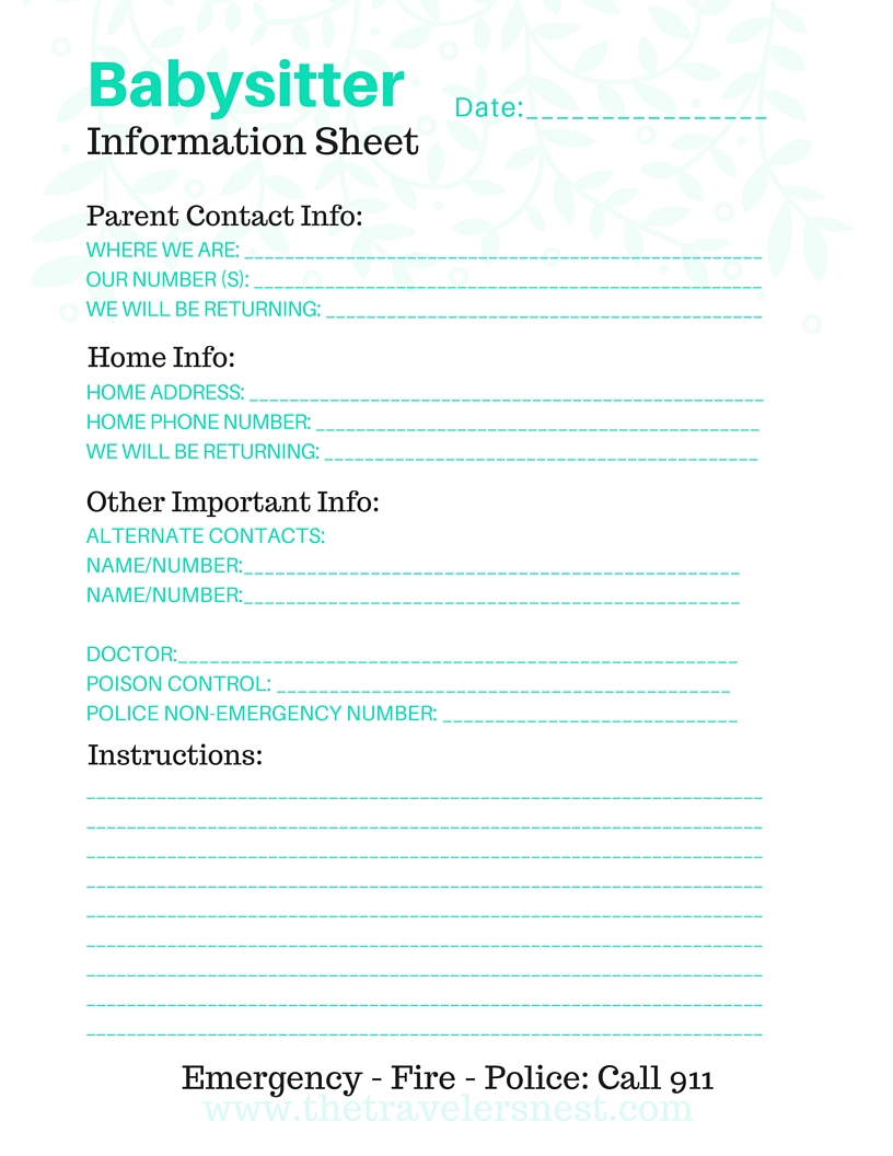 Free Printable: Babysitter Info Sheet - The Traveler's Nest - Free Printable Parent Information Sheet