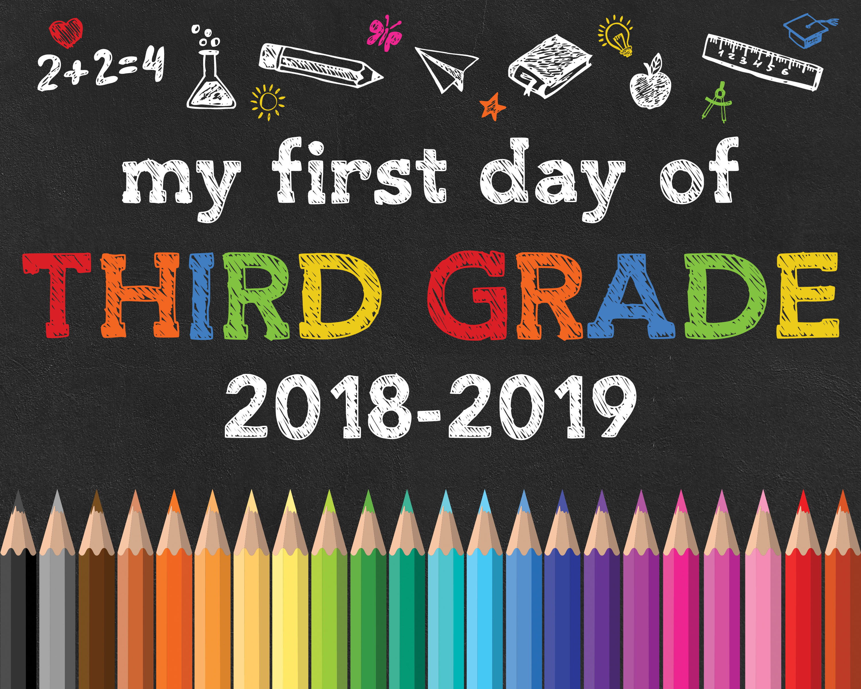 Free Printable Back To School Chalkboard Signs /// 2018-2019 - The - First Day Of 3Rd Grade Free Printable