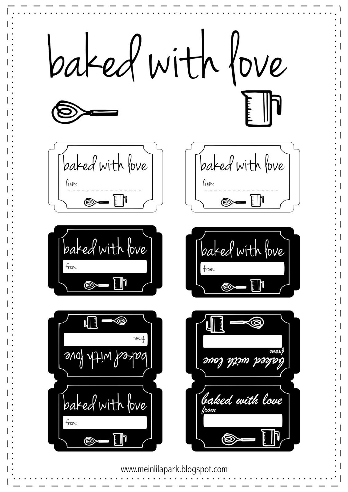 Free Printable Baked With Love Tags - Ausdruckbare Etiketten - Free Printable Baking Labels