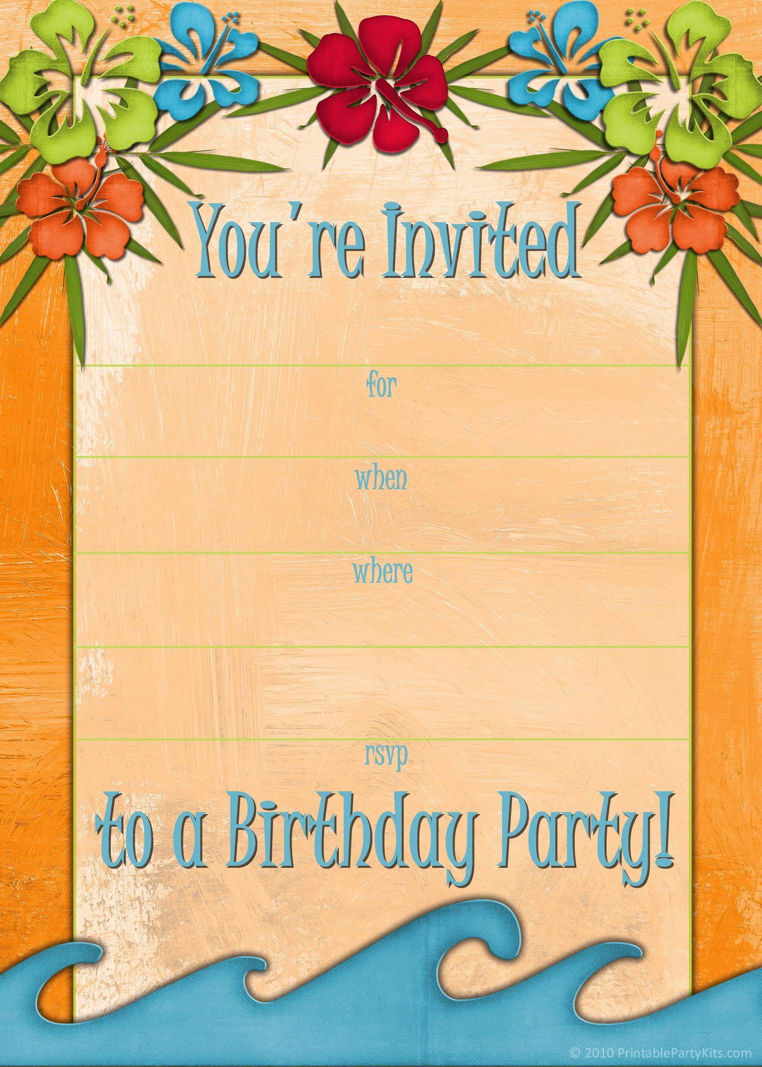 Free Printable Beach Party, Luau And Bbq Invitations Templates - Free Printable Beach Pictures