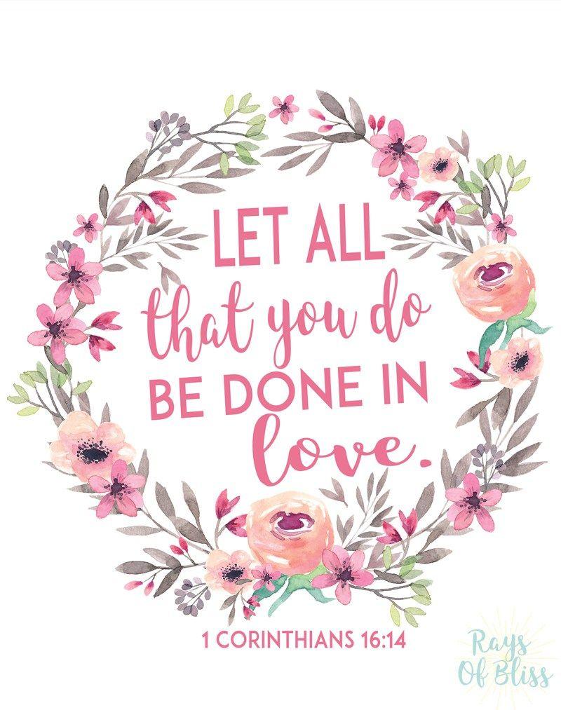 Free Printable Bible Verse 1 Corinthians 16:14 Let All That You Do - Free Printable Bible Verses