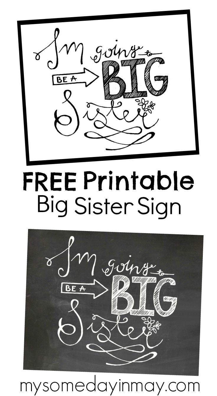 Free Printable Big Sister Sign | Family Pics | Pinterest | Second - Free Birth Announcements Printable